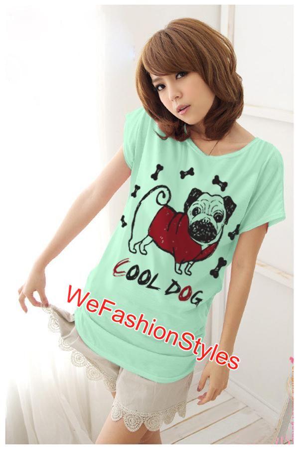 เสื้อยืดแฟชั่น ผ้านุ่ม ลาย Cool Dog (Size M:36 นิ้ว) สีเขียวมินท์