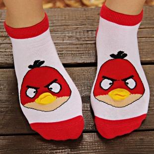 S067**พร้อมส่ง** (ปลีก+ส่ง) ถุงเท้าแฟชั่นเกาหลี จมูกข้อสั้น ลายAngry Bird เนื้อดี งานนำเข้า(Made in china)
