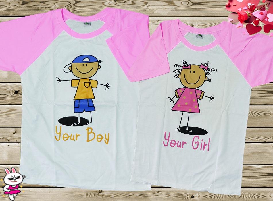 เสื้อคู่รัก แขนสโลบ ลายการ์ตูนเด็กมี4สี