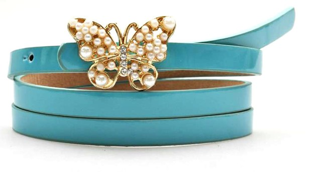 Leather belt - Blue