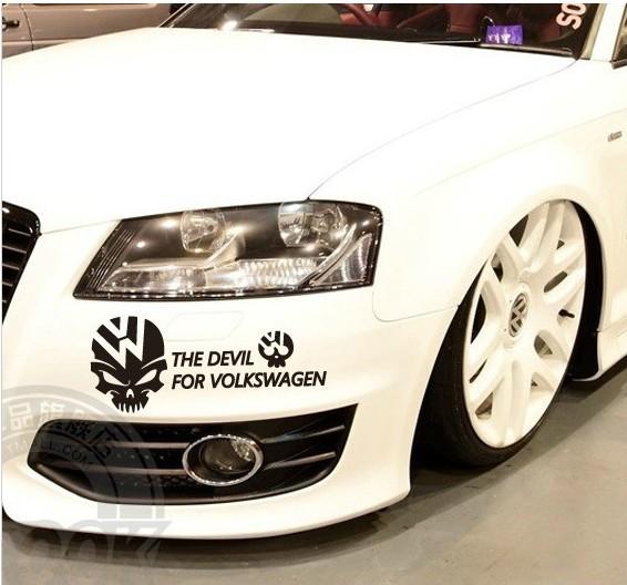 สติ๊กเกอร์หัวกระโหลกสีขาว The Devil For Volkswagen ขนาด 12x30 ซม (ภาพแทน)
