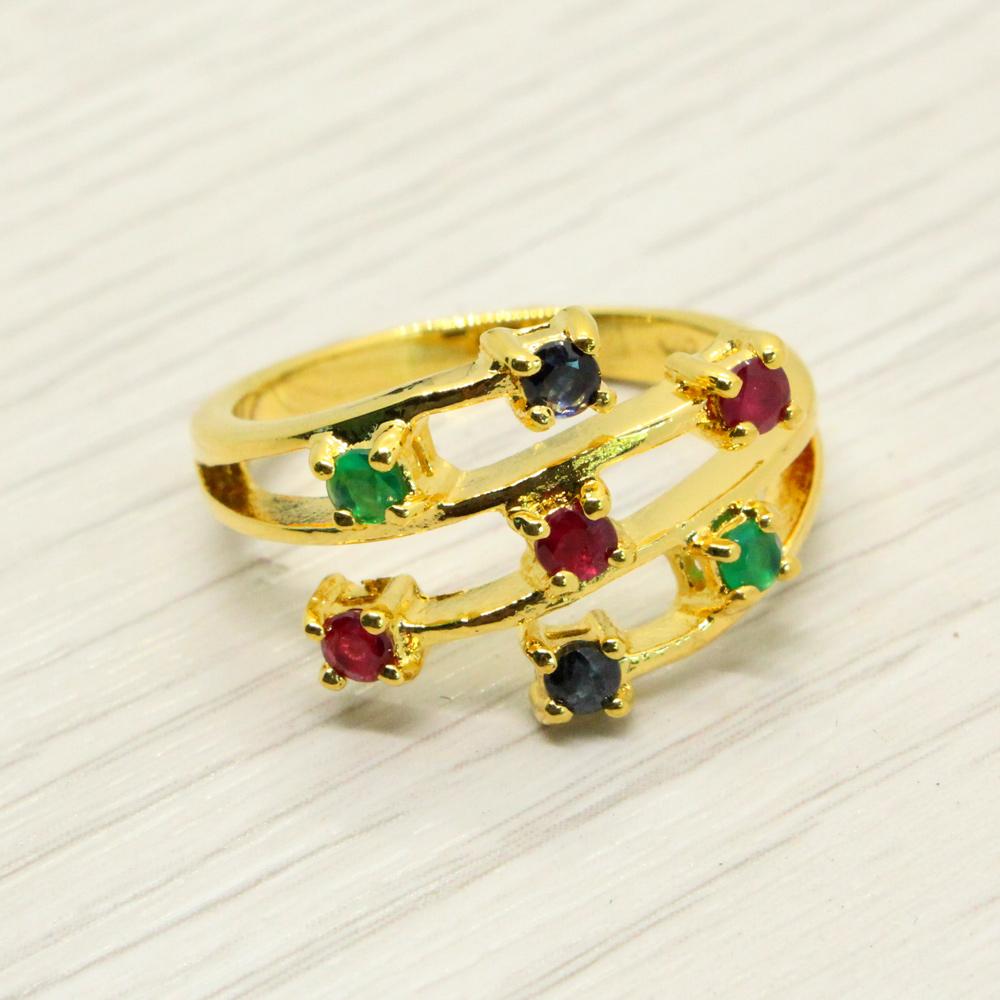 แหวนพลอยแท้ หุ้มทองคำแท้ ไซส์ 52