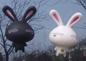 จุ๊บติดกระจก Rabbit เปิดตา สีดำ (ขนาด 10*7 CM)