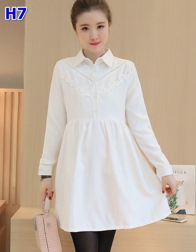 #เสื้อคลุมท้องแฟชั่น คอปกสีขาว แขนยาว ปักลูกไม้ ใส่ทำงานออกงานได้จร้า ผ้านิ่มใส่สบายจร้า