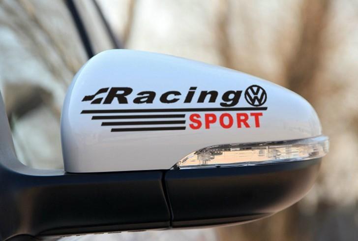 สติ๊กเกอร์ติดกระจกมองข้างรถ Racing Sport (1Pack/2ชิ้น) สีดำ