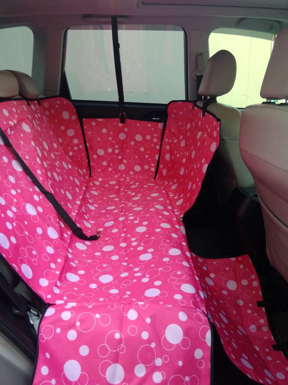 ที่รองเบาะรถยนต์สำหรับสุนัข ด้านหลัง 2 ที่นั่ง 2 in 1 สีชมพู ฟองสบู่