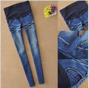 กางเกงคนท้องยีนส์ยืดขายาว ปรับเอวได้ size XL, XXL