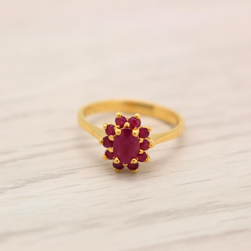 แหวนพลอยทับทิมแท้ หุ้มทองคำแท้ ไซส์52