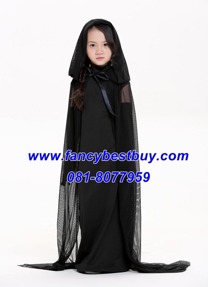 ชุดแม่มดดำน้อยสำหรับงานแฟนซี วันฮาโลวีน สีดำ พร้อมถุงมือยาว ขนาดฟรีไซด์ สำหรับ 125-135 ซม