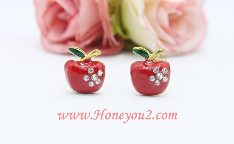 ต่างหูหนีบ Apple แดง