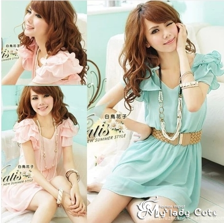 Korean fashion chiffon dress (ไม่รวมเข็มขัด)