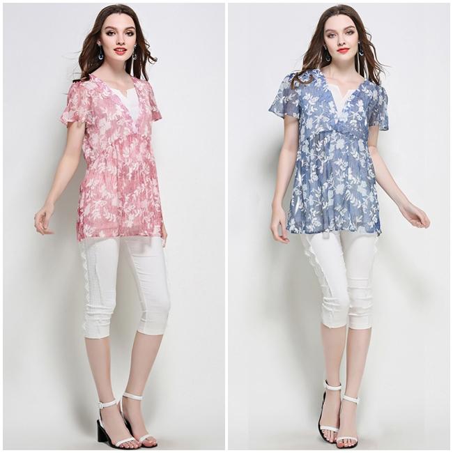 เสื้อเบลาซ์ Chiffon Flower Print