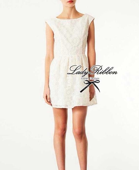 Lady Ribbon Lady Margaret White Lace Mini Dress