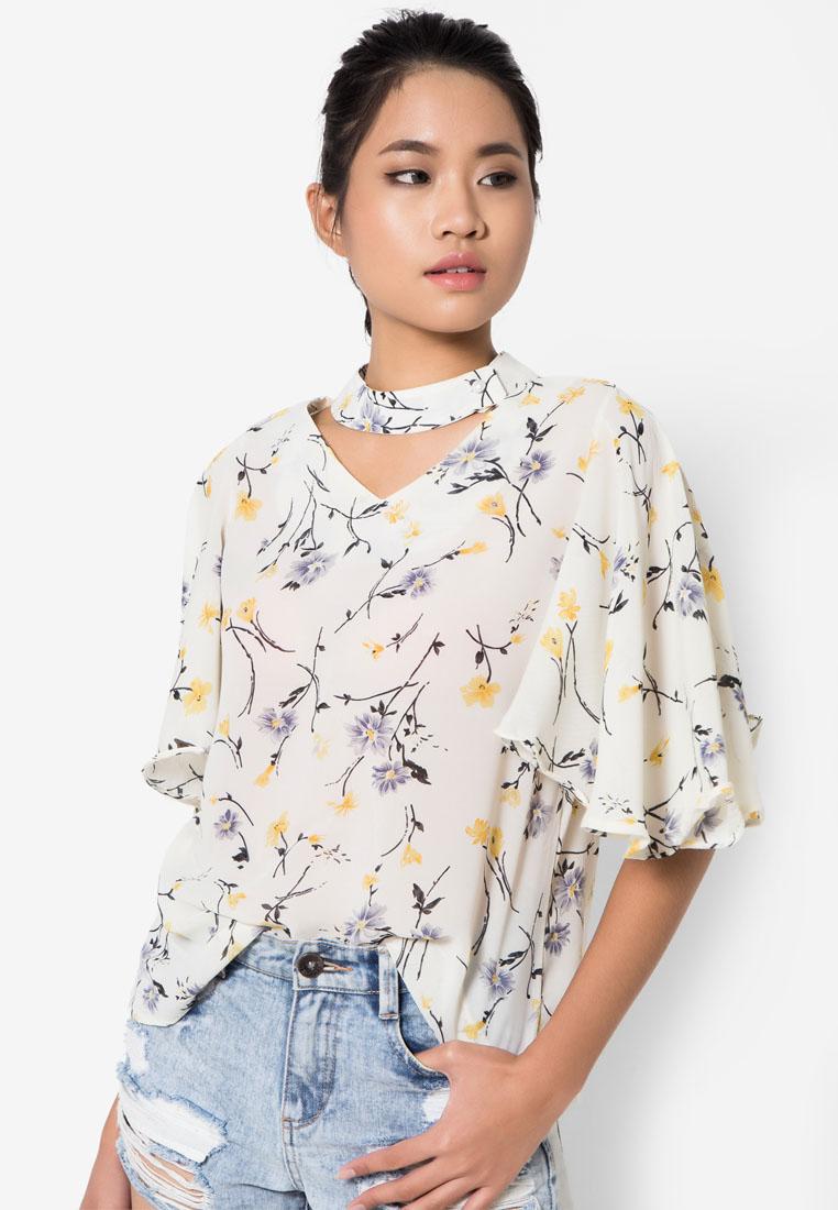 เสื้อเบลาส์ Floral Detached Mandarin Collar