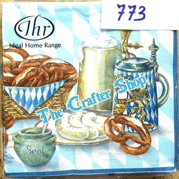 napkin ลายขนมปังและเครื่องดืม (รหัสสินค้า NA-773)