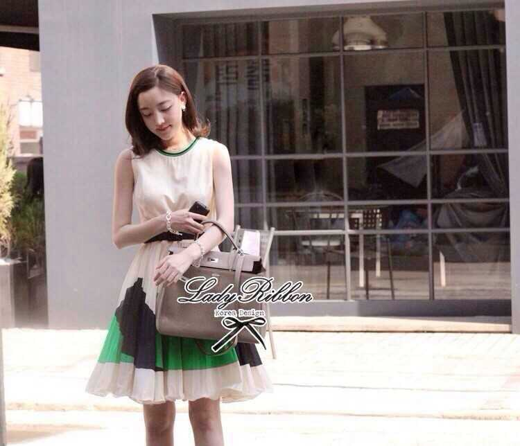 Partysu Vivid Dress เดรสเกาหลีแขนกุดสีครีม กระโปรงทรง A