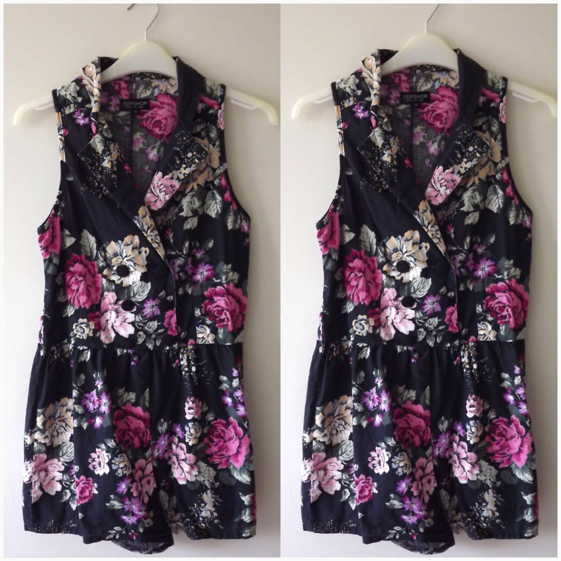 Playsuit Rose Floral Topshop Uk12