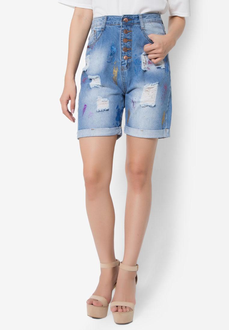 กางเกงขาสั้น Glittery Denim