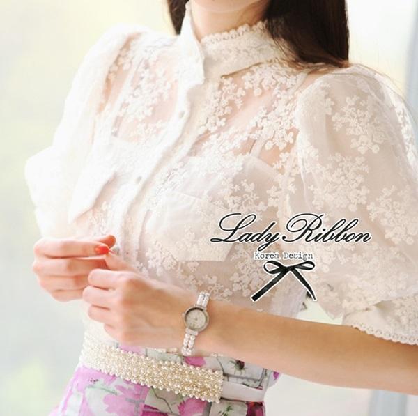 Lady Ribbon เสื้อปักลายลูกไม้สไตล์วินเทจ ผ้าออร์แกนดี้