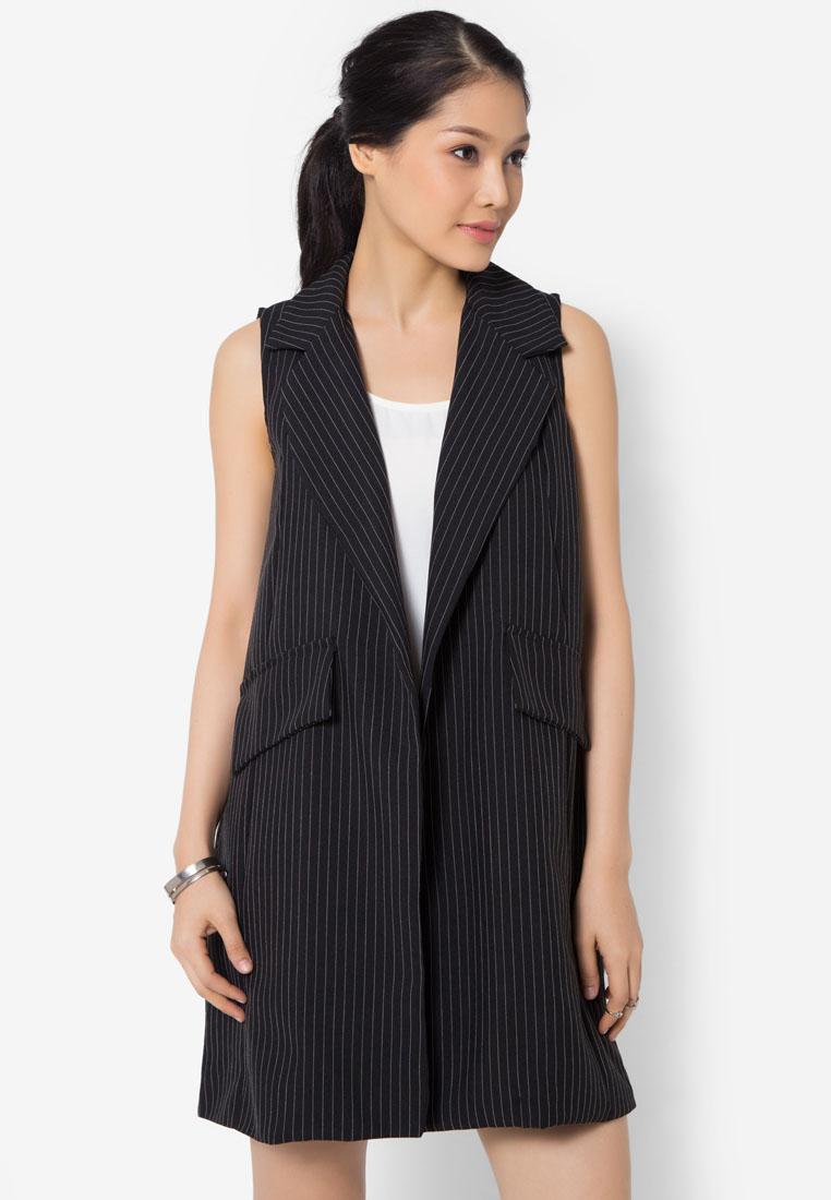 เสื้อเบลเซอร์ Fine Stripes Sleeveless