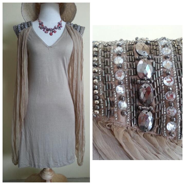 Topshop Love Embellished Shoulder Dress Size M/L